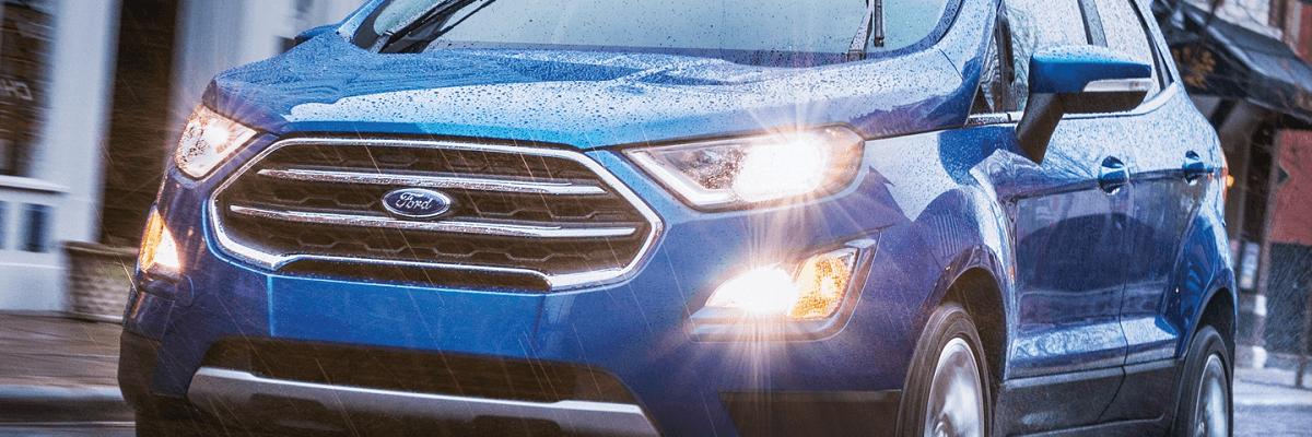 Cảm biến trên đèn pha phía trước của EcoSport sẽ nhận biết sự thay đổi ánh sáng