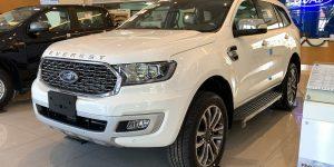 Xe Ford Everest Titanium 4wd 2.0L AT titanium 2021 2022 bản cao cấp màu trắng tại Ford Hà Đông